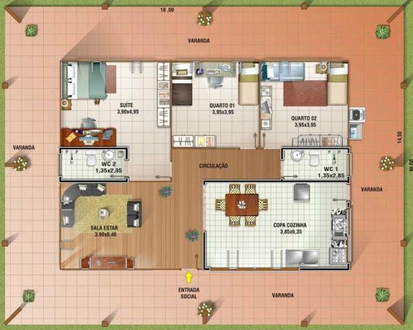 Plano de casa con gran galeria de una planta tres for Planos de casas sims