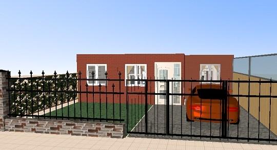 Plano propio en 3D de casa de una planta, tres dormitorios y 80 metros cuadrados