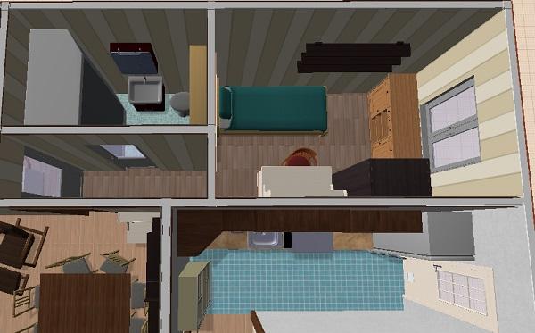 Vista en 3d donde podemos observar en detalle la cocina, uno de los dormitorios pequeños y el baño.
