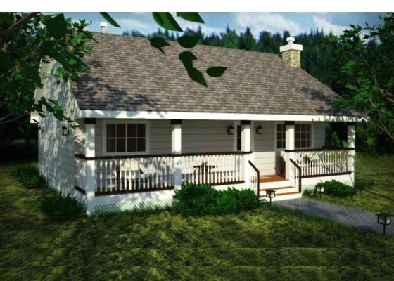 Plano en 3 dimensiones de casa de una planta, dos dormitorios y 84 metros cuadrados