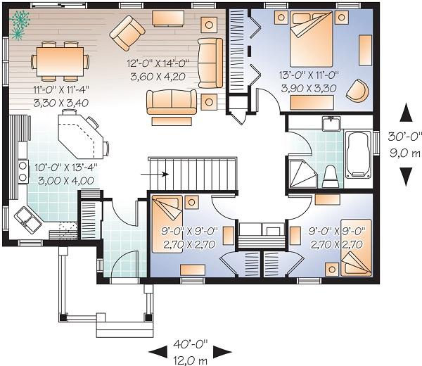 Plano de casa de una planta tres dormitorios y 108 metros for Planos de casas de una sola planta