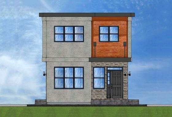 Plano de casa de dos plantas, tres dormitorios y 103 metros cuadrados