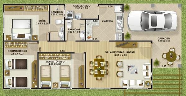 Plano de casa economica de tres dormitorios y 111 metros for Casa moderna 7x15