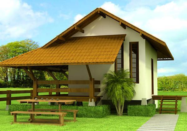 Plano de cabaña monoambiente para vacaciones de 35 metros cuadrados