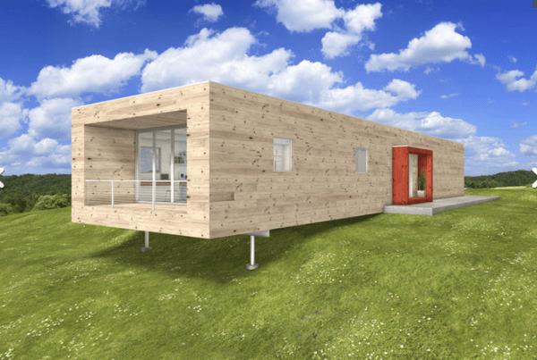 Plano de casa moderna de una planta, dos dormitorios y 146 metros cuadrados