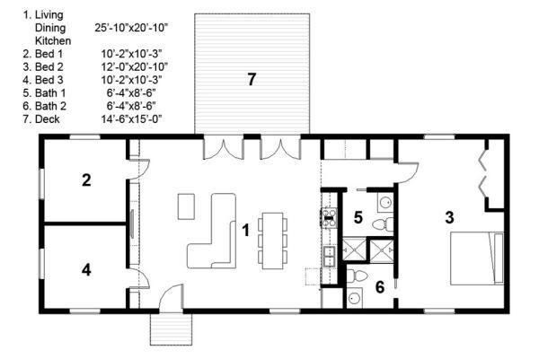 Plano de casa minimalista de 119 metros cuadrados y 3 for Plano casa minimalista 2 dormitorios