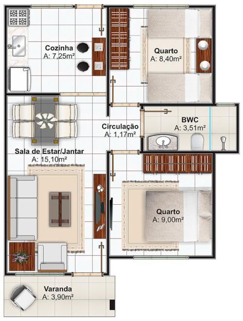 Plano De Casas Economica De Dos Dormitorios Y 53 Metros Cuadrados Planos De Casas Gratis Deplanos Com