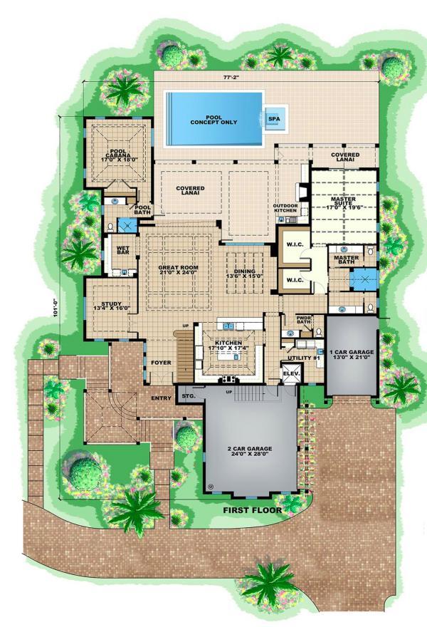 Plano planta baja mansion de cuatro dormitorios
