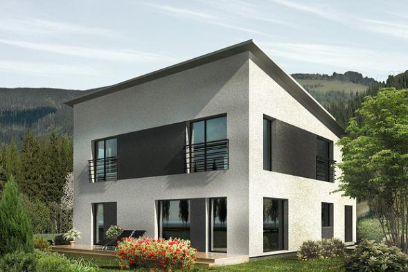 Plano de casa moderna de dos plantas y cuatro dormitorios en 174 metros cuadrados