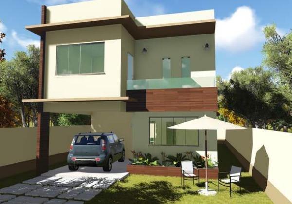 plano de casa con tres suites en dos plantas y metros cuadrados