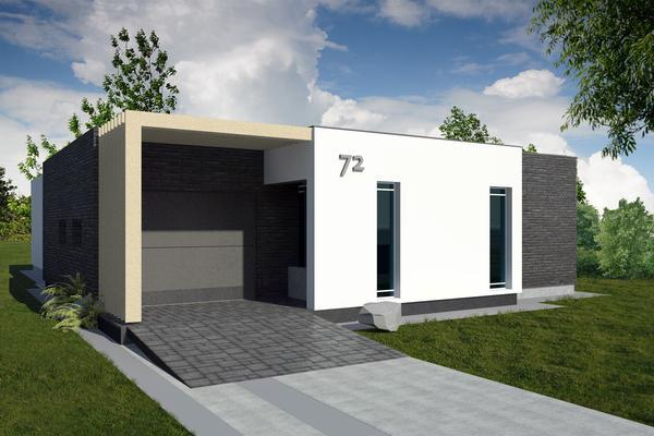 Plano de casa moderna de un piso, tres dormitorios y 176 metros cuadrados