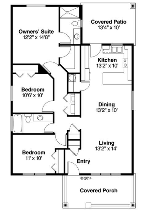 Plano de casa tradicional de una planta tres dormitorios for Planos de casas 90m2