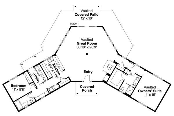 Plano casa llamativa de una planta y dos dormitorios
