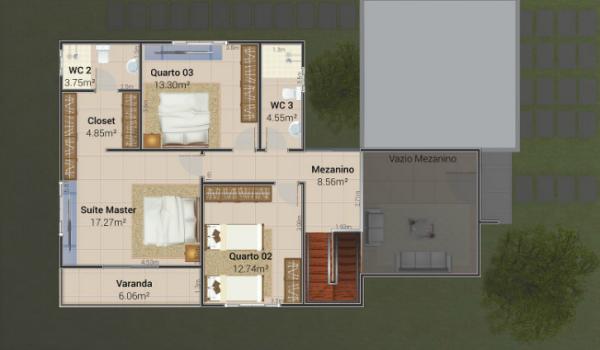 Plano moderno de casa de dos plantas cuatro dormitorios y for Plano casa moderna 4 habitaciones