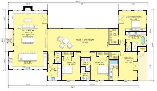 Plano de casa grande de cuatro dormitorios en una planta - Distribucion casa alargada ...