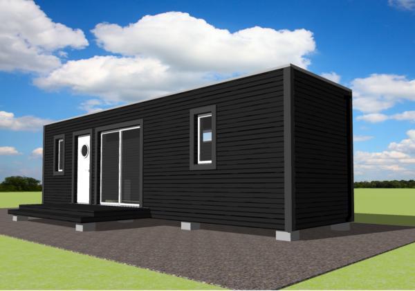 Peque a y comoda casa hecha con un container planos de for Casa minimalista de 40 metros cuadrados