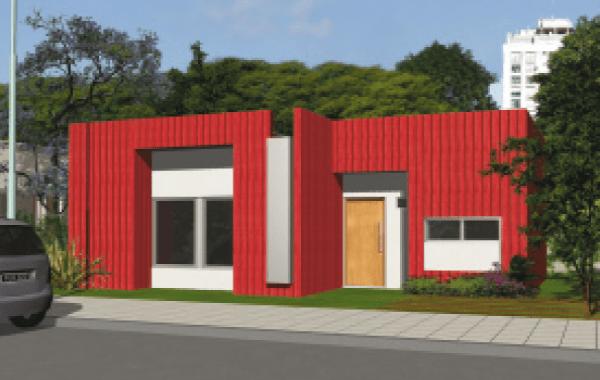 Plano de casa procrear maderera de 3 dormitorios y 81 for Casa minimalista 80 metros