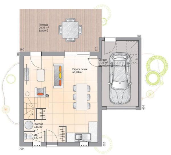 Plano planta baja duplex de 3 dormitorios y 110 metros cuadrados