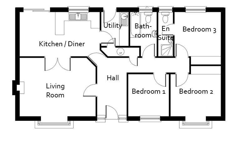 Plano de casa formal de 3 dormitorios y 96 metros for Planos de casas de campo de 3 dormitorios