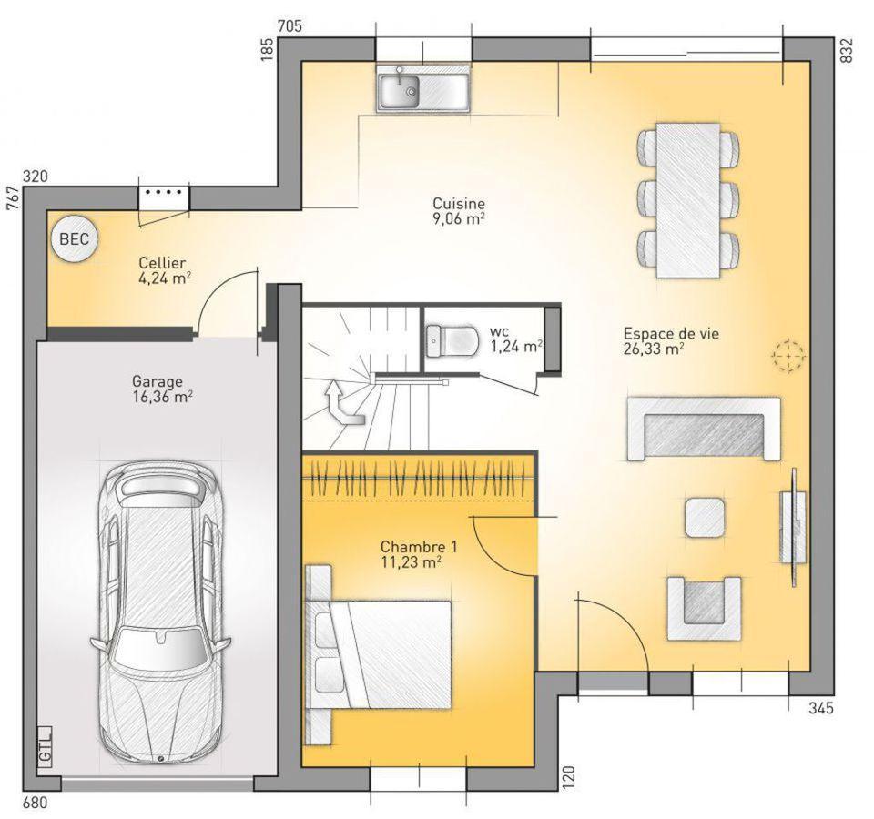 Plano de casa francesa de 4 dormitorios y 130 metros for Casas minimalistas planta baja