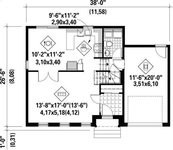 Plano de casa clasica de dos plantas 3 dormitorios y 127 for Casa de 40 metros cuadrados