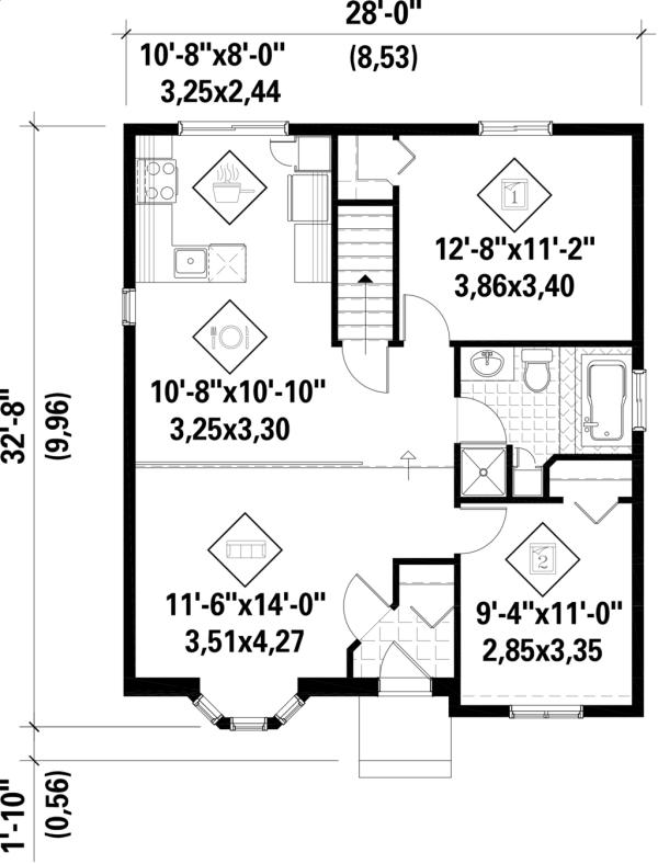 plano casa de dos dormitorios