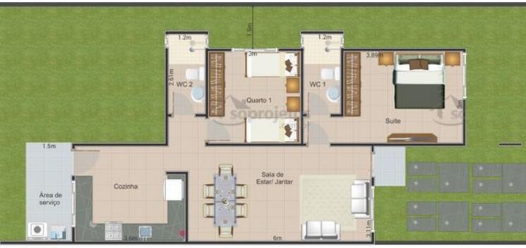 Casa moderna de dos dormitorios y 72 metros cuadrados - Como sacar los metros cuadrados de una habitacion ...