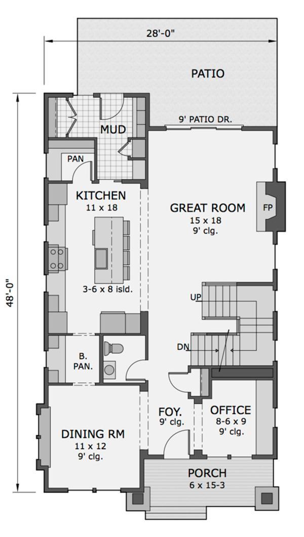 Zemin kat planı Üç yatak odalı Amerikan ev
