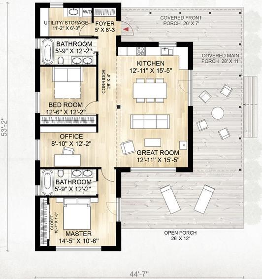 Genial casa de campo de una planta 2 dormitorios y 114 for Planos de casas de campo de una planta