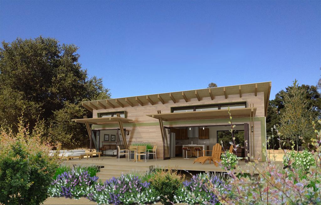 Plano en 3d de casa moderna de 1 dormitorio y 45 metros for Casa minimalista 2 dormitorios