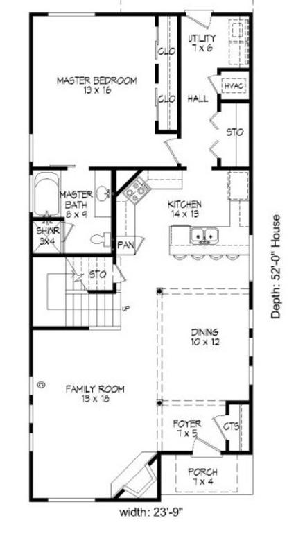İki katlı ve 3 yatak odalı zemin kat planı