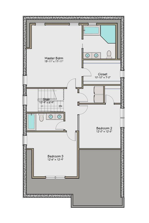 iki katlı dört yatak odalı ev üst kat planı
