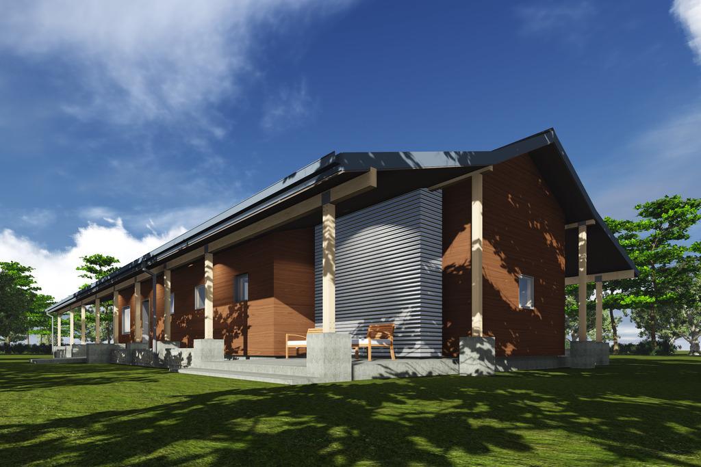 Planos de casa de una planta y tres dormitorios en 177 metros cuadrados