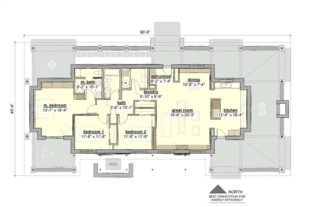 Planos de casa de una planta y tres dormitorios en 177 for Dormitorio 10 metros cuadrados