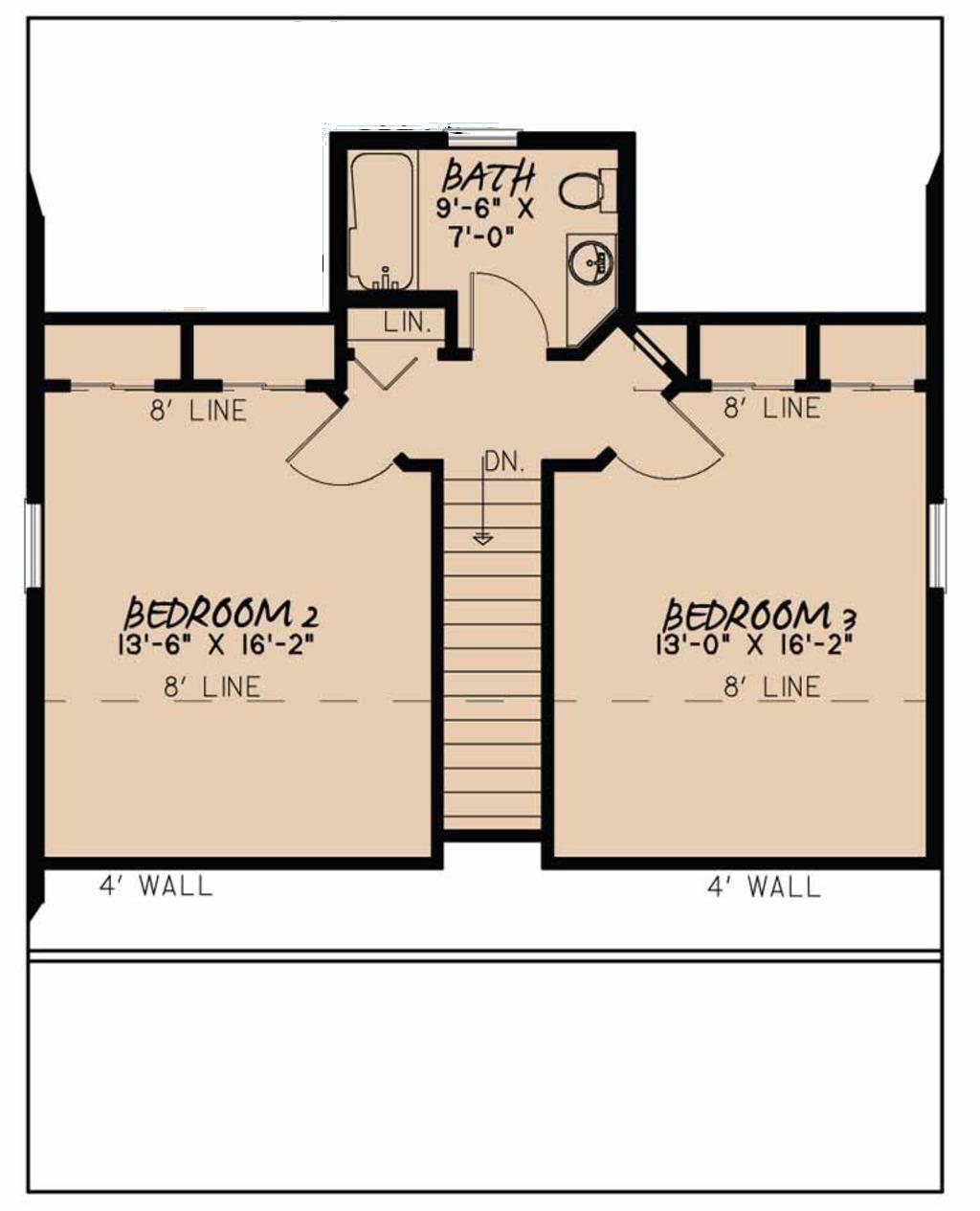 plano de casa de dos pisos y tres dormitorios con sótano en 153