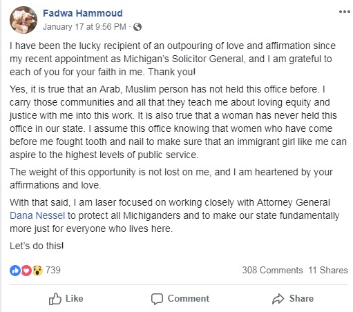 Michigan Attorney General Appoints Muslim Woman as Solicitor General
