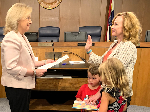 Councilwoman sworn in on Dr. Seuss book