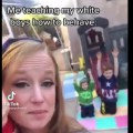 white mom has kids kneel for black women