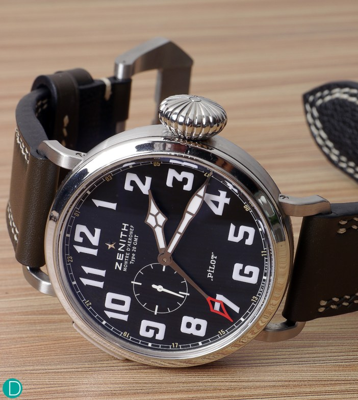 The Zenith Montre D'Aéronef Type 20 GMT Pilot. Zenith owns the name Pilot, and being the only company allowed to use the name on a watch, is rather discrete with the single word Pilot on the dial.