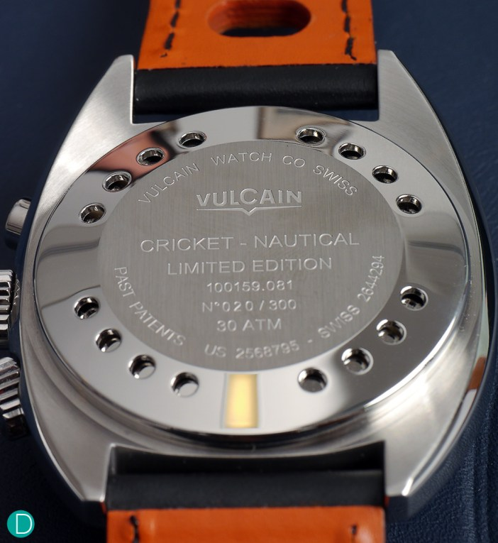 Vulcain Nautical Seventies caseback, showing the triple caseback construction. This is essential for water resistance to 300m as well as the loud sound audible in and out of water.