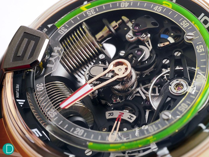 The H2, is a collaboration with Audemars Piguet Renaud Papi (APRP), and features the piston arranged in a V shape, like a V engine, and and opened up dial to show more of the movement.