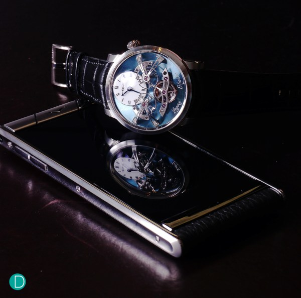 The Vertu Aster here with the stunning platinum MB&F Legacy Machine 2. A perfect match for the watch collector? You tell us.