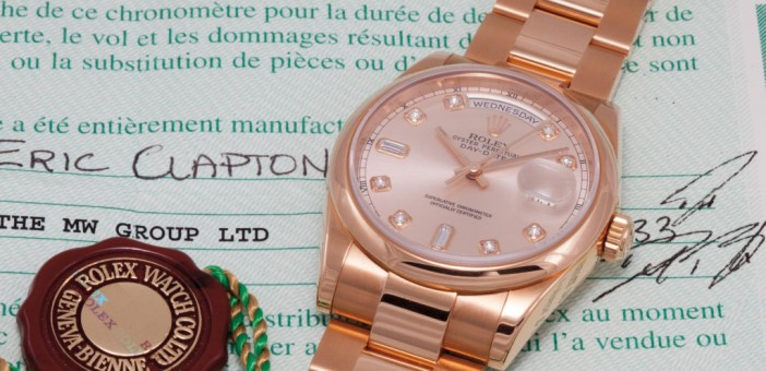The Reference 118205 Day Date previously owned by Eric Clapton.  Image courtesy of Phillips.