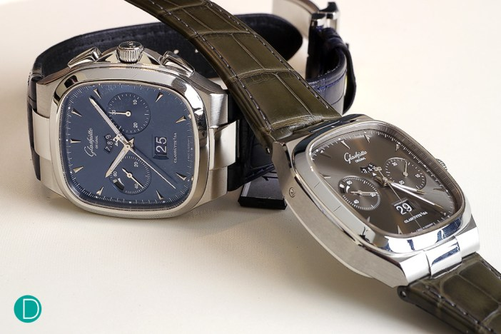 Glashütte Original Seventies Chronograph Panorama Date is available in two dial variations in SS. A beautiful blue dial and a more sober grey dial.