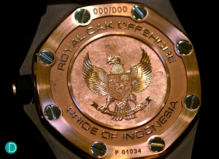 The garuda medallion on the Audemars Piguet Royal Oak Offshore Pride of Indonesia.