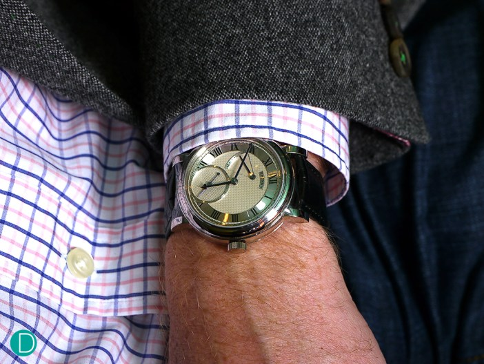 The Roger Smith Series 2, on the wrist of its creator, Roger Smith himself.