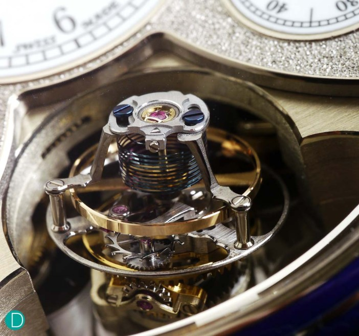 The tourbillon, featuring the cylindrical balance and incline at 20°.