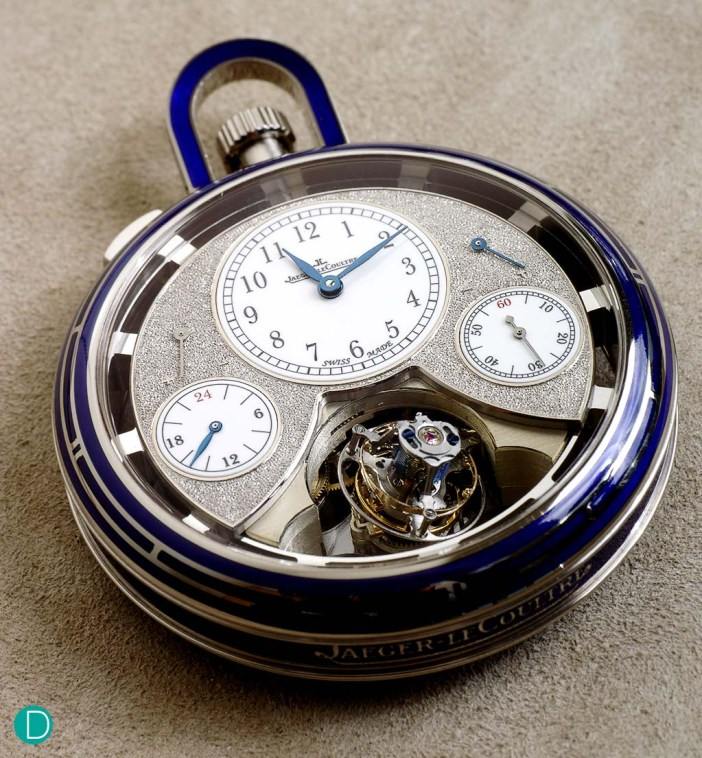 Jaeger LeCoultre Duomètre Sphérotourbillon pocket watch, white gold case embellished with blue enamel at the sides and bezel.