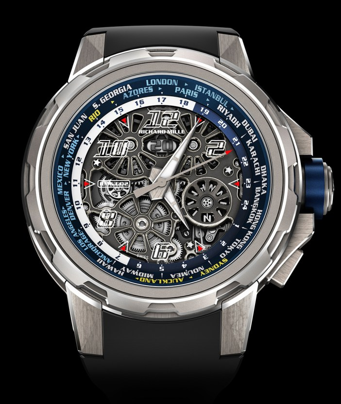 Fussy dial, but classic Richard Mille design. And an unfussy operations of the world timer. Just grab the bezel and turn. Place the local city at 12, and the other cities local times can be read.
