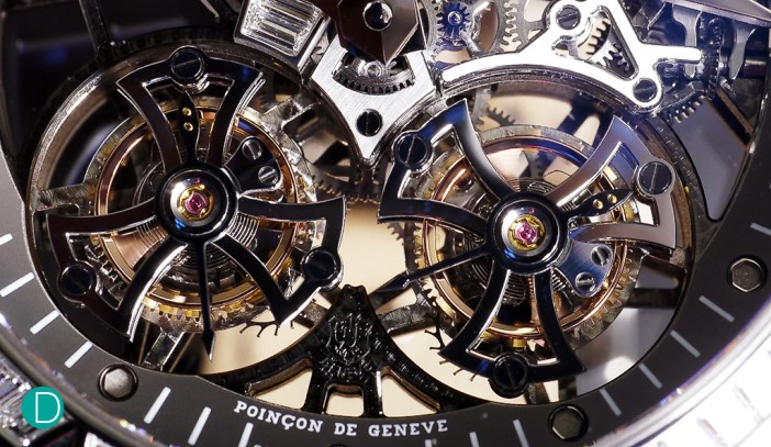 The double tourbillons. Mesmerising. And nicely finished.